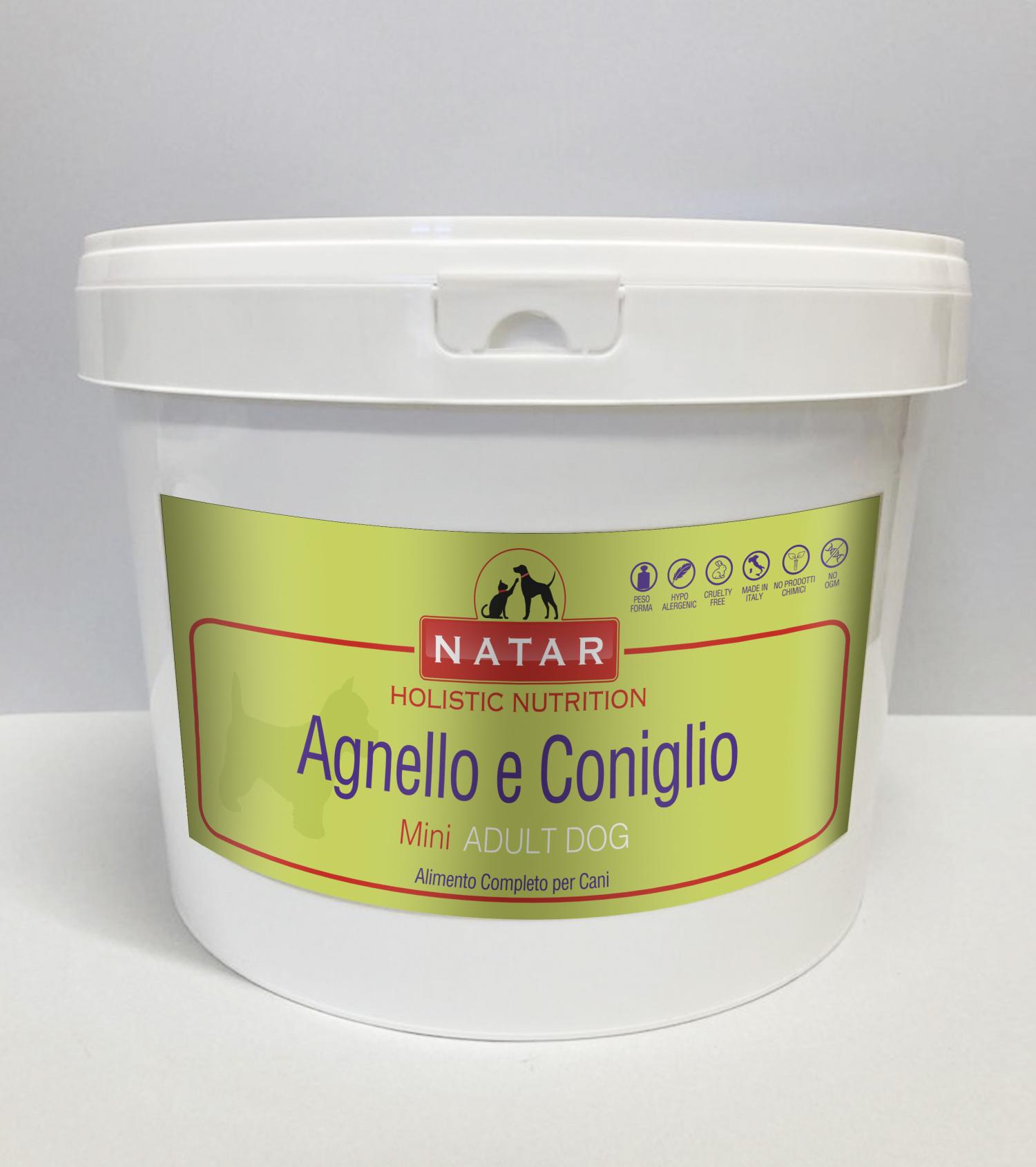 Cibo olistico per cani adulti a base di Agnello e Coniglio con crocchette specifiche per cani di piccola taglia