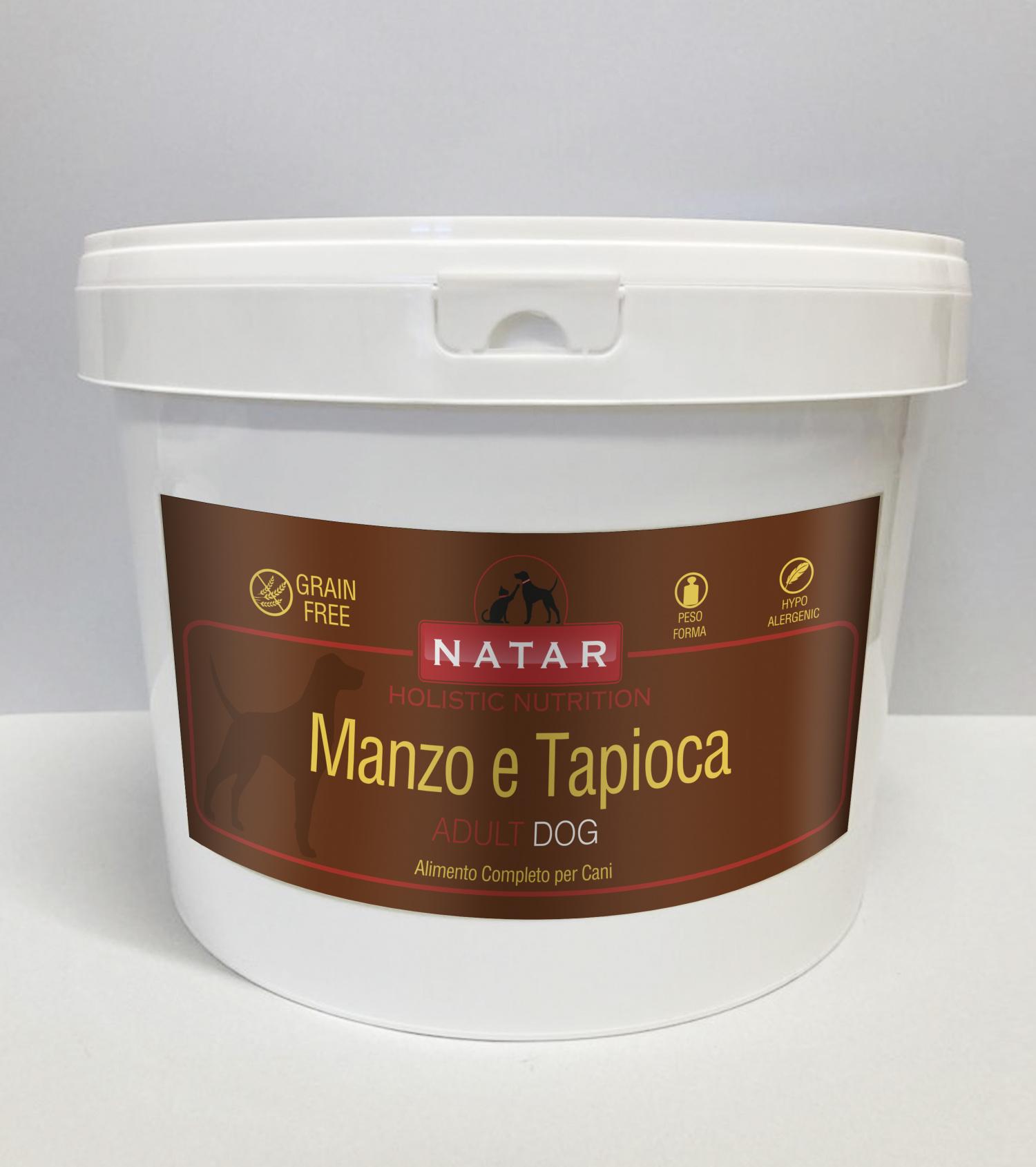 Cibo olistico per cani adulti a base di Manzo e Tapioca