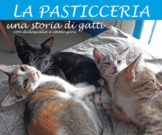 """Copertina del libro """"La pasticceria - una storia di gatti - con didascalie e immagini"""""""