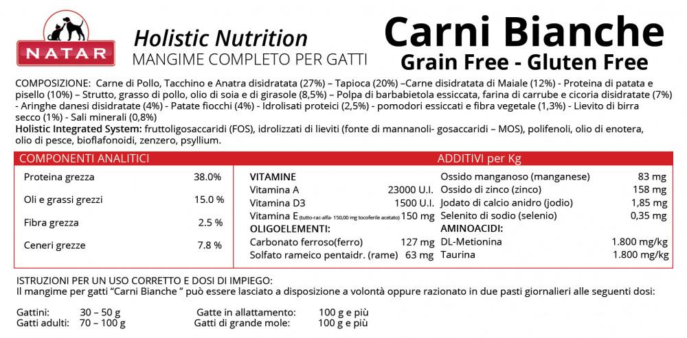 """Scheda tecnica cibo olistico """"Carni Bianche - Grain Free Gluten Free"""" per Gatto"""