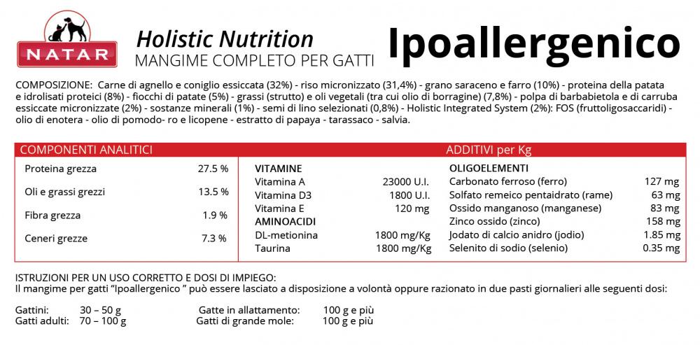 """Scheda tecnica cibo olistico """"Agnello e Coniglio - Ipoallergenico"""" per Gatto"""